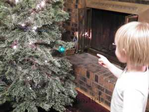 """""""Look mom! The tree has a blue ball, now!""""Ok, that was in bad taste - but it was funny!"""
