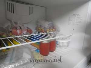 Strawberry Coulis and frozen grapes/strawberries in bags.